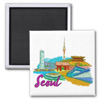 Seul - Korea.png del sur Imán Cuadrado