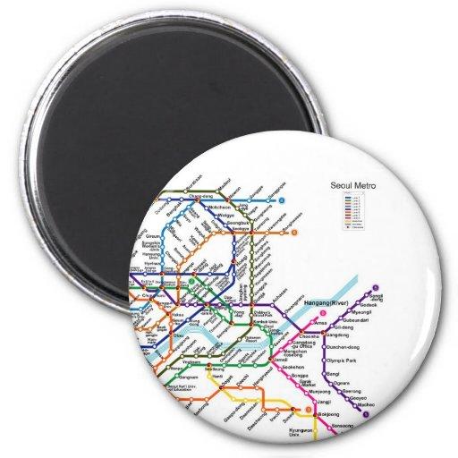Seul Metro_Map Imán Redondo 5 Cm