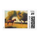 Seurat horse and cart painting pointillist art stamp