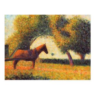 Seurat horse and cart painting pointillist art postcard