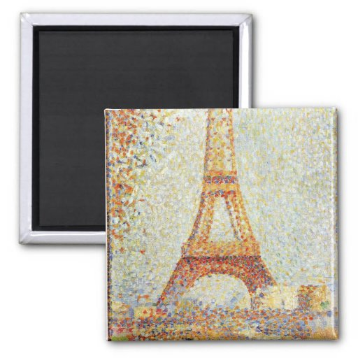 Seurat Painting The Effiel Tower 2 Inch Square Magnet