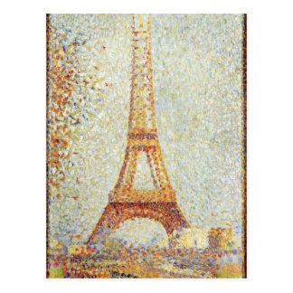 Seurat que pinta la torre de Effiel Postales