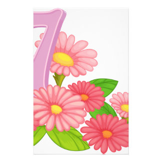 Seven blooming flowers stationery