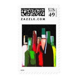 Seven Bottles of Wine on the Wall Postage Stamp