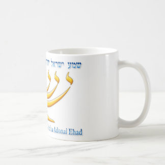 Seven branch menorah of Israel and Shema Israel Coffee Mug
