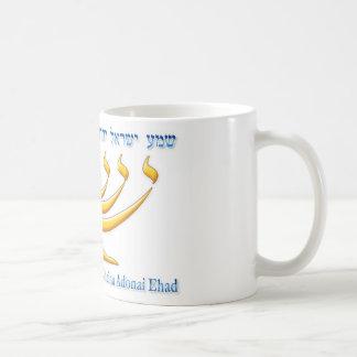 Seven branch menorah of Israel and Shema Israel Coffee Mug
