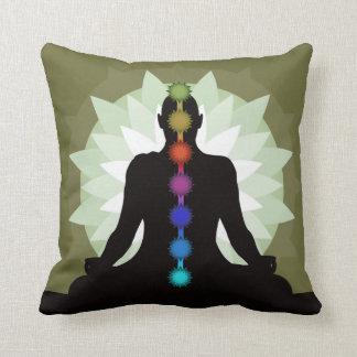 Seven Chakras Yoga Pose Design Throw Pillow