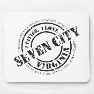 Seven City Stamp - Black Mouse Pad