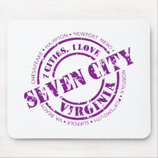 Seven City Stamp - Purple Mouse Pad