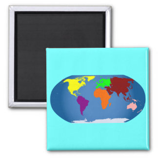 Seven Continents Colored Magnet