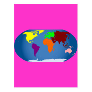 Seven Continents Colored Postcard