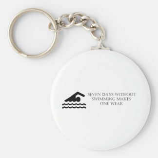 Seven Days Without Swimming Makes One Weak Basic Round Button Keychain