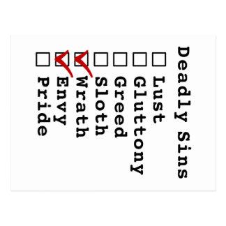 Seven Deadly Sins Checklist (0000110) Postcard