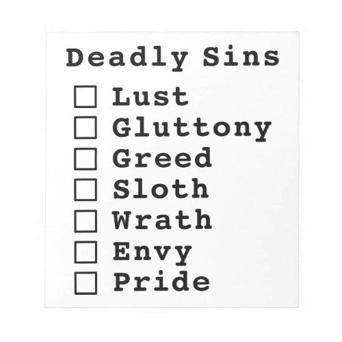 Seven Deadly Sins Checklist _ blank 0000000 Notepad