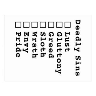 Seven Deadly Sins Checklist - blank (0000000) Postcard