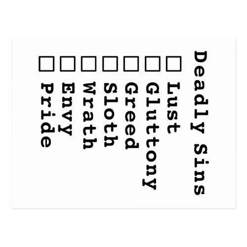 Seven Deadly Sins Checklist _ blank 0000000 Postcard