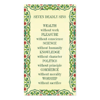 SEVEN DEADLY SINS  WEALTH without work PLEASURE Double-Sided Standard Business Cards (Pack Of 100)