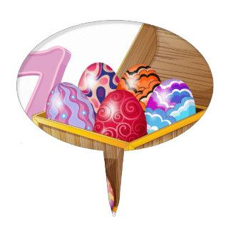 Seven Easter eggs Cake Topper