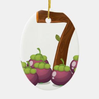 Seven eggplants ceramic ornament