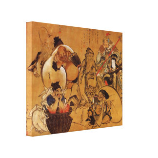 Seven gods of fortune by Hokusai Canvas Prints