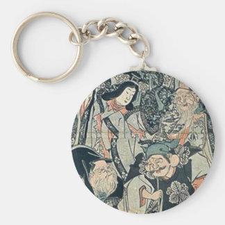 Seven gods of good fortune by Utagawa,Kuniyoshi Key Chain