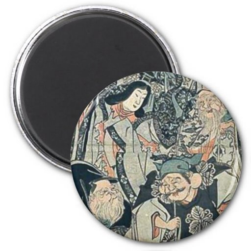 Seven gods of good fortune by Utagawa,Kuniyoshi Fridge Magnet