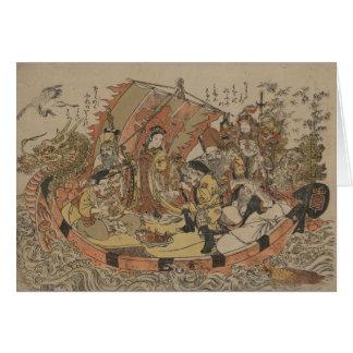 Seven Gods Of Good Fortune In The Treasure Boat Card