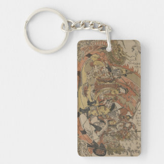 Seven Gods Of Good Fortune In The Treasure Boat Double-Sided Rectangular Acrylic Keychain