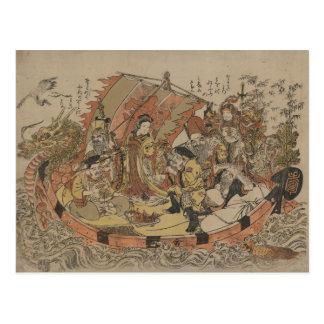 Seven Gods Of Good Fortune In The Treasure Boat Postcard