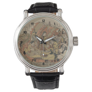 Seven Gods Of Good Fortune In The Treasure Boat Wrist Watch
