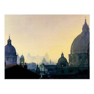 """""""Seven Hills"""" Cityscape Watercolor Postcard"""