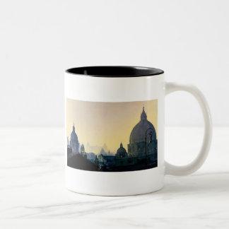 """""""Seven Hills"""" Cityscape Watercolor Two-Tone Coffee Mug"""