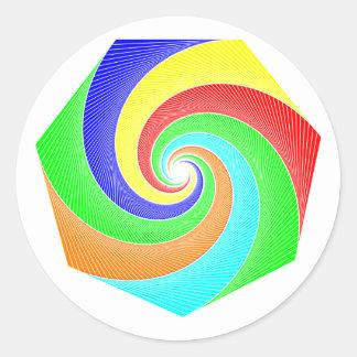 Seven-hit a corner spirals septagon spirals classic round sticker