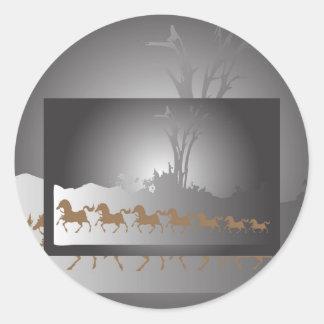 Seven Horses, Seven Horses Classic Round Sticker