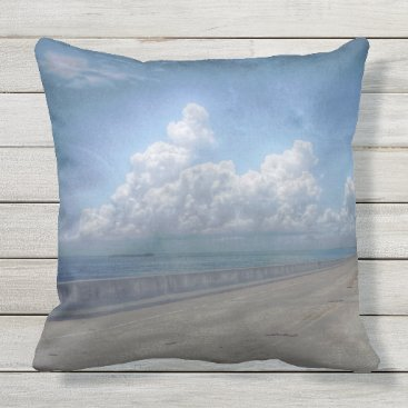 USA Themed Seven mile bridge print throw pillow