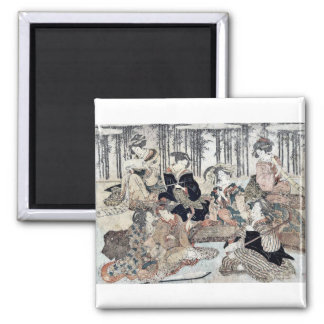 Seven people before a fence by Kubo,  Shunman Fridge Magnets