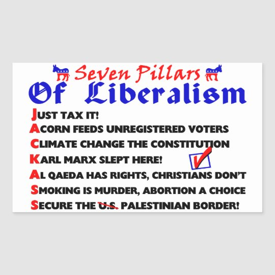 Seven Pillars Of Liberalism Rectangular Sticker