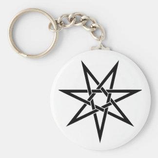Seven Pointed Star Basic Round Button Keychain