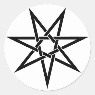 Seven Pointed Star Classic Round Sticker