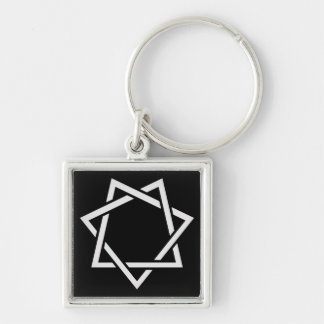 Seven Pointed Star Silver-Colored Square Keychain