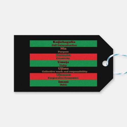 Seven Principles of Kwanzaa Horizontal Gift Tags