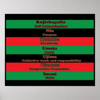 Seven Principles of Kwanzaa (Horizontal) Poster