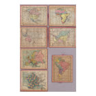 Seven Puzzle Maps of the World Poster