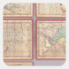 Seven Puzzle Maps of the World Square Sticker