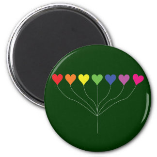 Seven Rainbow Colored  Heart Balloons 2 Inch Round Magnet