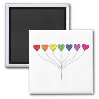 Seven Rainbow Colored  Heart Balloons 2 Inch Square Magnet
