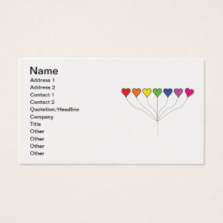 Seven Rainbow Colored  Heart Balloons Business Card