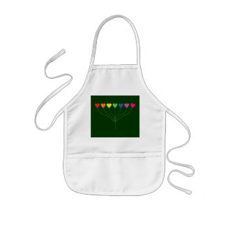 Seven Rainbow Colored  Heart Balloons Kids' Apron