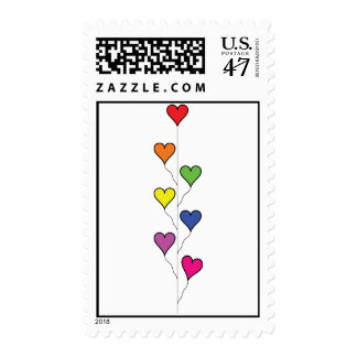 Seven Rainbow Colored  Heart Balloons Postage Stamp