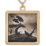 Seven Ravens Square Pendant Necklace